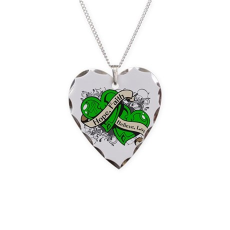 TBI Hope Faith Dual Hearts Necklace Heart Charm