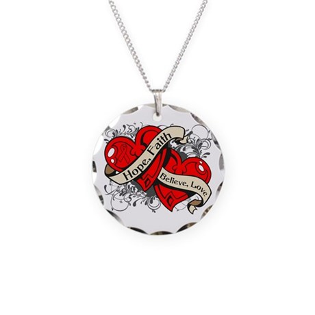 Stroke Hope Faith Dual Hearts Necklace Circle Char