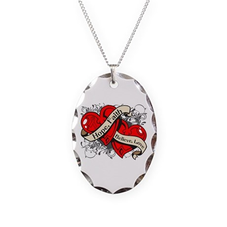 Stroke Hope Faith Dual Hearts Necklace Oval Charm