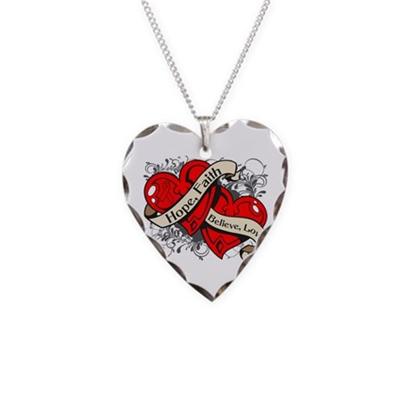 Stroke Hope Faith Dual Hearts Necklace Heart Charm