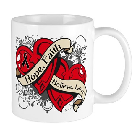 Skin Cancer Hope Faith Dual Hearts Mug