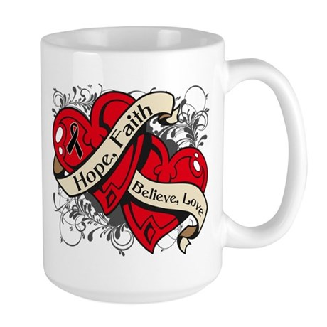 Skin Cancer Hope Faith Dual Hearts Large Mug