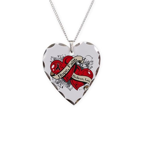 Skin Cancer Hope Faith Dual Hearts Necklace Heart