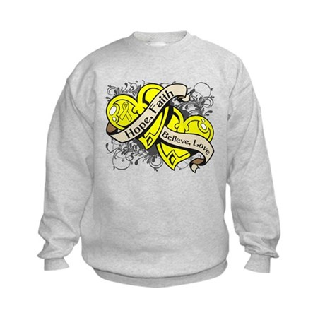 Sarcoma Hope Faith Dual Hearts Kids Sweatshirt