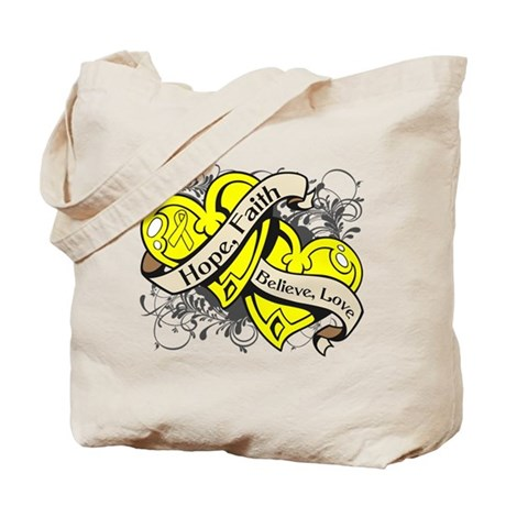 Sarcoma Hope Faith Dual Hearts Tote Bag