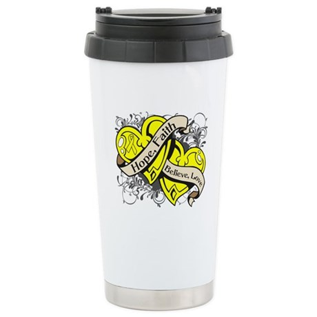 Sarcoma Hope Faith Dual Hearts Ceramic Travel Mug
