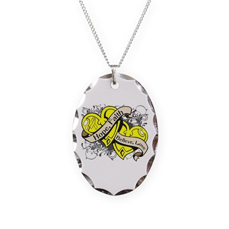 Sarcoma Hope Faith Dual Hearts Necklace Oval Charm