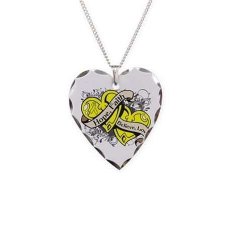 Sarcoma Hope Faith Dual Hearts Necklace Heart Char