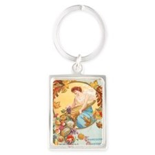 Vintage Thanksgiving Card Portrait Keychain