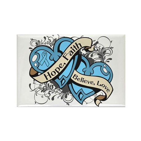 Prostate Cancer Hope Hearts Rectangle Magnet