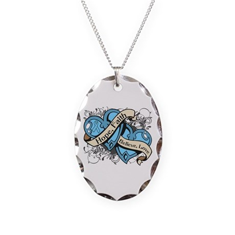 Prostate Cancer Hope Hearts Necklace Oval Charm