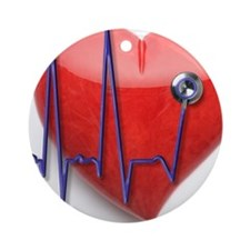 EKG stethoscope and stone heart Round Ornament