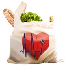 EKG stethoscope and stone he Reusable Shopping Bag