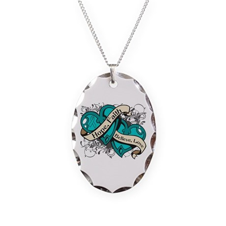 PCOS Hope Faith Dual Hearts Necklace Oval Charm