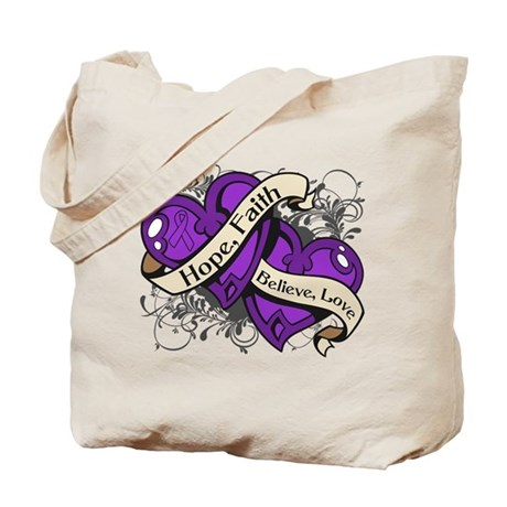 Pancreatic Cancer Hope Hearts Tote Bag