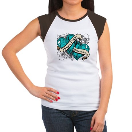 Ovarian Cancer Hope Hearts Women's Cap Sleeve T-Sh