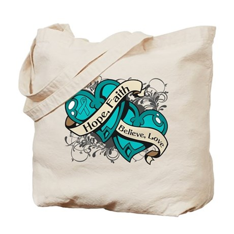 Ovarian Cancer Hope Hearts Tote Bag