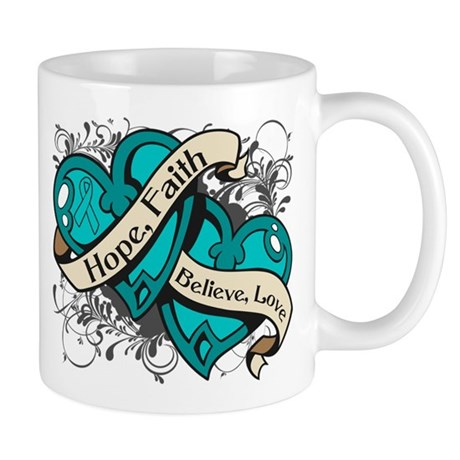 Ovarian Cancer Hope Hearts Mug