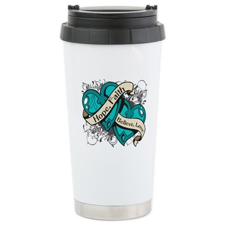 Ovarian Cancer Hope Hearts Ceramic Travel Mug