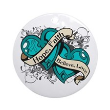 Ovarian Cancer Hope Hearts Ornament (Round)