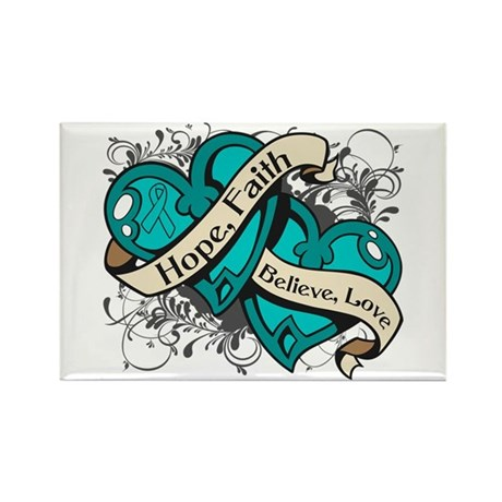 Ovarian Cancer Hope Hearts Rectangle Magnet