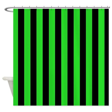 Green And Black Stripes Shower Curtain By CoolPatterns