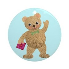 Retro Valentine's Bear Ornament (Round)