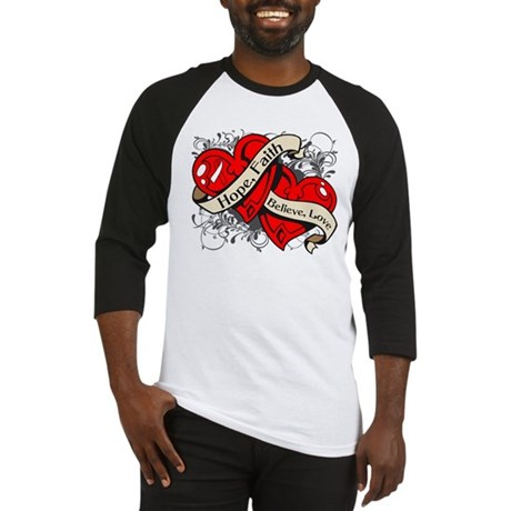 Oral Cancer Hope Faith Dual Hearts Baseball Jersey