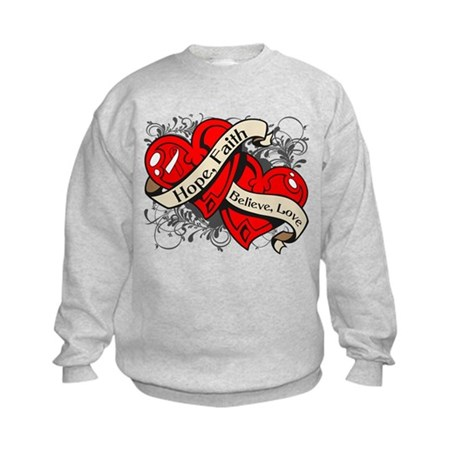 Oral Cancer Hope Faith Dual Hearts Kids Sweatshirt
