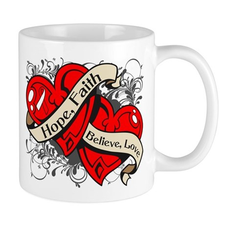 Oral Cancer Hope Faith Dual Hearts Mug