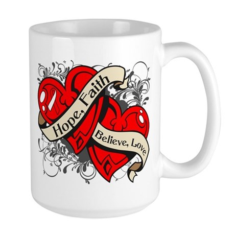 Oral Cancer Hope Faith Dual Hearts Large Mug