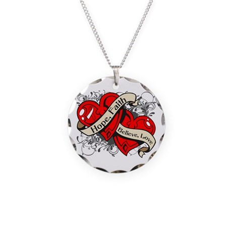 Oral Cancer Hope Faith Dual Hearts Necklace Circle