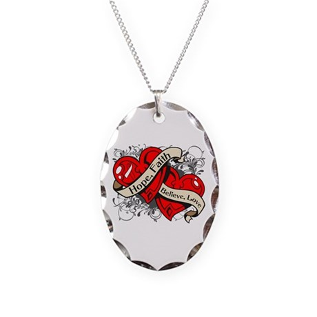 Oral Cancer Hope Faith Dual Hearts Necklace Oval C