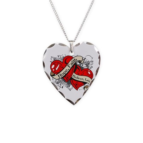Oral Cancer Hope Faith Dual Hearts Necklace Heart