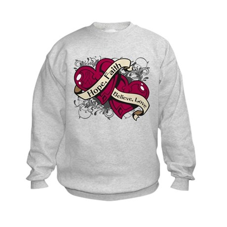 Multiple Myeloma Hope Hearts Kids Sweatshirt