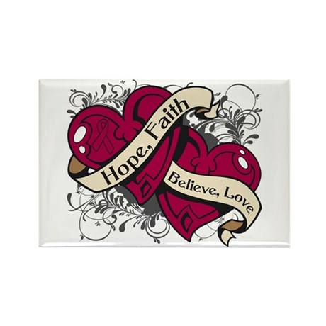 Multiple Myeloma Hope Hearts Rectangle Magnet