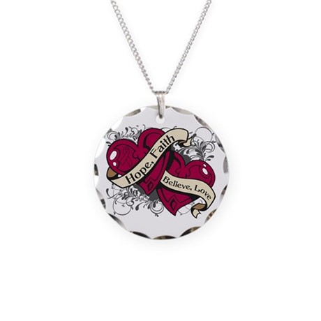 Multiple Myeloma Hope Hearts Necklace Circle Charm