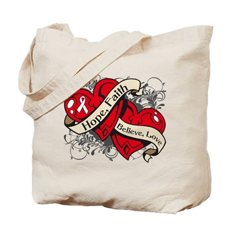 Mesothelioma Hope Faith Dual Hearts Tote Bag