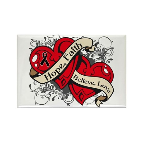 Melanoma Hope Faith Dual Hearts Rectangle Magnet