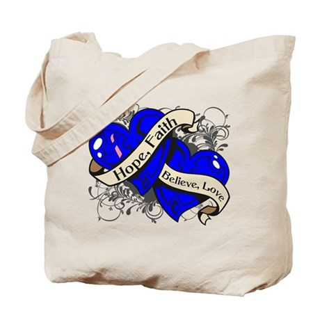 Male Breast Cancer Hope Hearts Tote Bag