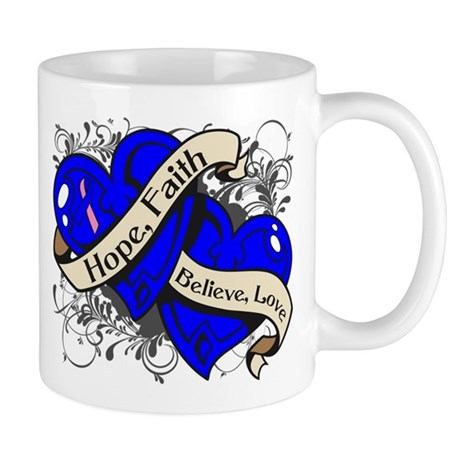 Male Breast Cancer Hope Hearts Mug
