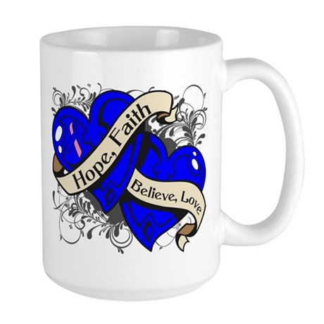 Male Breast Cancer Hope Hearts Large Mug
