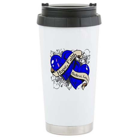 Male Breast Cancer Hope Hearts Ceramic Travel Mug