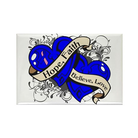 Male Breast Cancer Hope Hearts Rectangle Magnet
