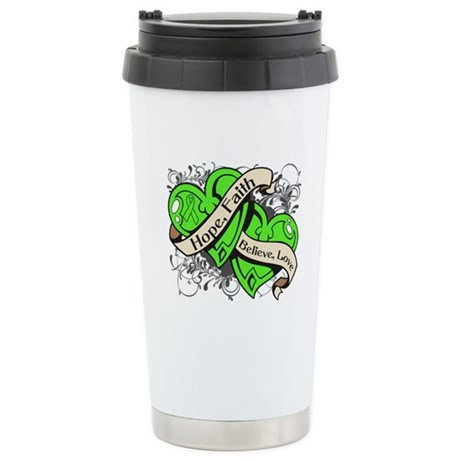 Lymphoma Hope Hearts Ceramic Travel Mug