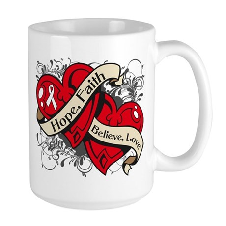 Lung Cancer Hope Faith Dual Hearts Large Mug