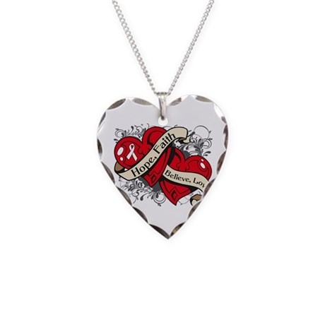 Lung Cancer Hope Faith Dual Hearts Necklace Heart