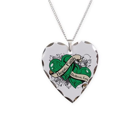Liver Cancer Hope Faith Dual Hearts Necklace Heart