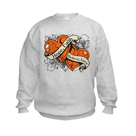 Leukemia Hope Faith Dual Hearts Kids Sweatshirt