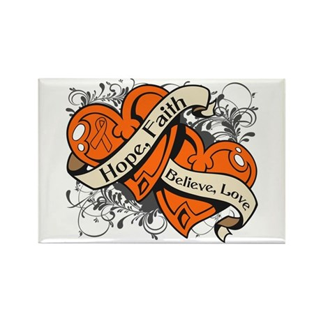 Leukemia Hope Faith Dual Hearts Rectangle Magnet